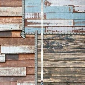 Curtains Weathered Boards Print Backdrop 26076